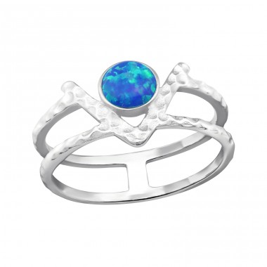 Double Line Opal - 925 Sterling Silver Rings with Zirconia stones A4S32350