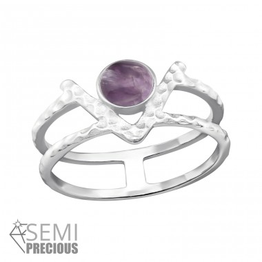 Double Line - 925 Sterling Silver Rings with Zirconia stones A4S32351