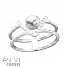 Double Line - 925 Sterling Silver Rings with Zirconia stones A4S32352