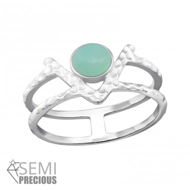 Double Line - 925 Sterling Silver Rings with Zirconia stones A4S32353