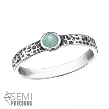Hammered - 925 Sterling Silver Rings with Zirconia stones A4S32425