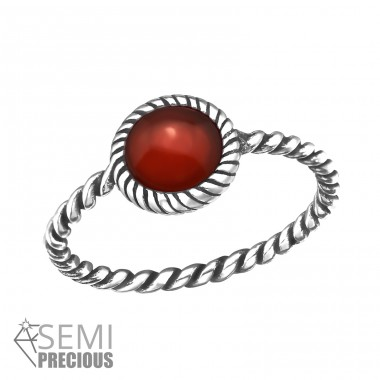 Twisted Band - 925 Sterling Silver Rings with Zirconia stones A4S32428