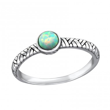 Round Opal - 925 Sterling Silver Rings with Zirconia stones A4S32430