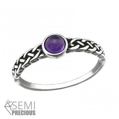 Braided - 925 Sterling Silver Rings with Zirconia stones A4S32431