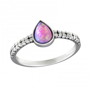 Tear Drop Opal - 925 Sterling Silver Rings with Zirconia stones A4S32455