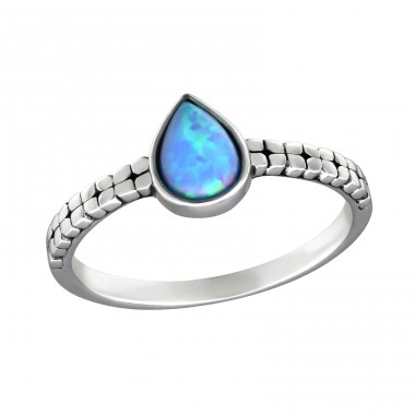Tear Drop Opal - 925 Sterling Silver Rings with Zirconia stones A4S32456