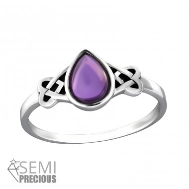 "Celtic ""Amethyst"" - 925 Sterling Silver Rings With Semi-Precious stone A4S32457"
