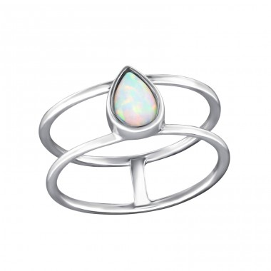 Tear Drop Opal - 925 Sterling Silver Rings with Zirconia stones A4S33044