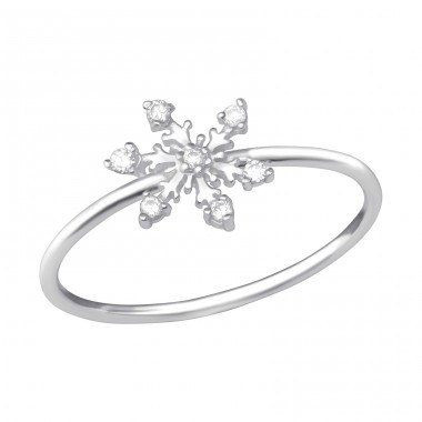 Snowflake - 925 Sterling Silver Rings with Zirconia stones A4S33902