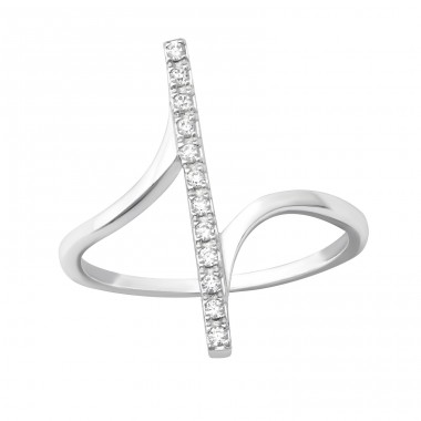 Bar - 925 Sterling Silver Rings with Zirconia stones A4S33918