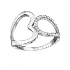 Heart - 925 Sterling Silver Rings with Zirconia stones A4S34339