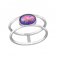 Oval Opal - 925 Sterling Silver Rings with Zirconia stones A4S34579