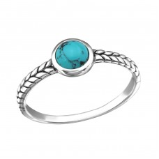 Oxidized - 925 Sterling Silver Rings with Zirconia stones A4S34652