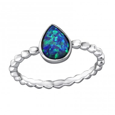 Teardrop Opal - 925 Sterling Silver Rings with Zirconia stones A4S34654