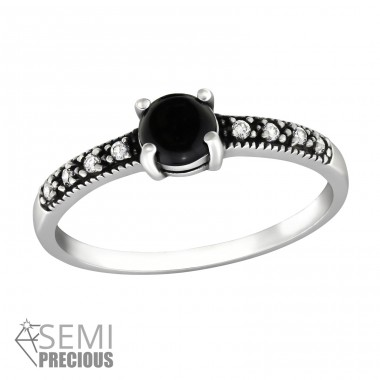 "Solitaire ""Black Onyx"" - 925 Sterling Silver Rings With Semi-Precious stone A4S34655"
