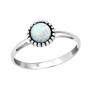 Round Opal - 925 Sterling Silver Rings with Zirconia stones A4S34974