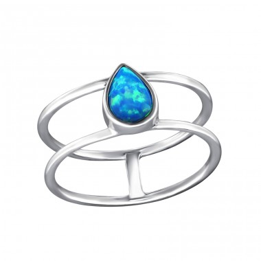 Teardrop Opal - 925 Sterling Silver Rings with Zirconia stones A4S34975