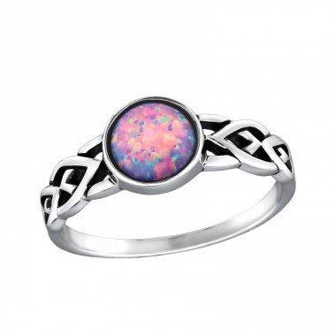 Round Opal - 925 Sterling Silver Rings with Zirconia stones A4S34977