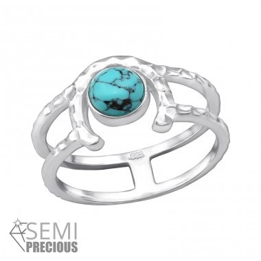 Double Line - 925 Sterling Silver Rings with Zirconia stones A4S35075