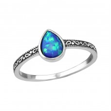 Teardrop Opal - 925 Sterling Silver Rings with Zirconia stones A4S35196