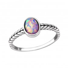 Oval Opal - 925 Sterling Silver Rings with Zirconia stones A4S35197