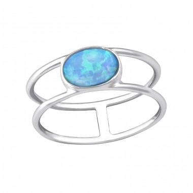 Oval Opal - 925 Sterling Silver Rings with Zirconia stones A4S35381