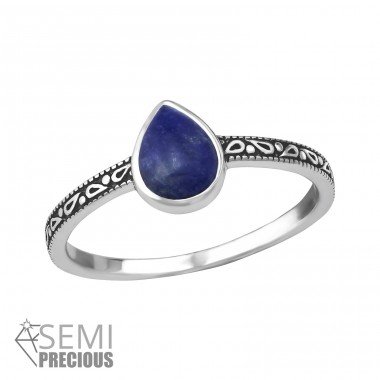 "Teardrop ""Sodalite"" - 925 Sterling Silver Rings With Semi-Precious stone A4S35382"