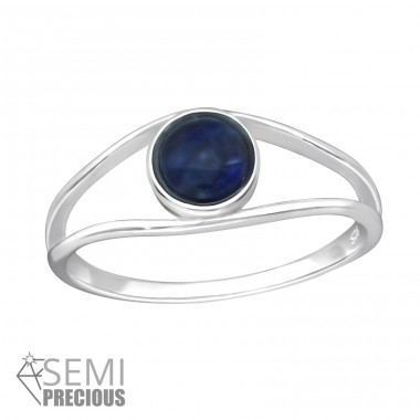 "Round ""Sodalite"" - 925 Sterling Silver Rings With Semi-Precious stone A4S35602"