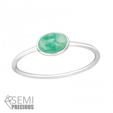 "Oval ""Amazonite"" - 925 Sterling Silver Rings With Semi-Precious stone A4S35603"