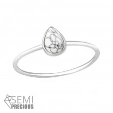 Teardrop - 925 Sterling Silver Rings with Zirconia stones A4S35719