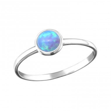 Round Opal - 925 Sterling Silver Rings with Zirconia stones A4S35815