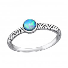 Oxidized - 925 Sterling Silver Rings with Zirconia stones A4S36078