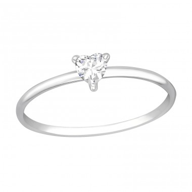Heart - 925 Sterling Silver Rings with Zirconia stones A4S36167
