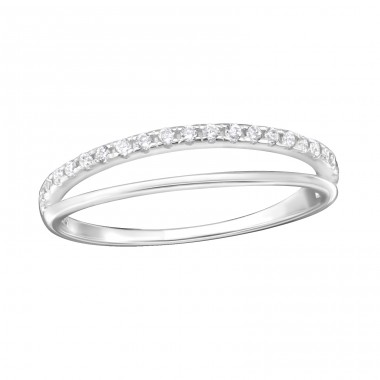 Double Line - 925 Sterling Silver Rings with Zirconia stones A4S36175