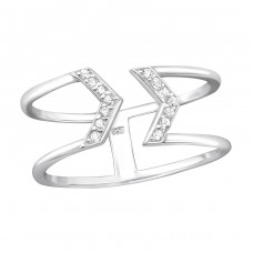 Arrow - 925 Sterling Silver Rings with Zirconia stones A4S36176