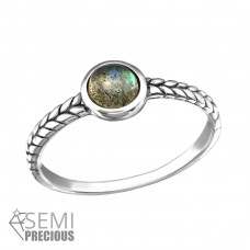 Oxidized - 925 Sterling Silver Rings with Zirconia stones A4S36187