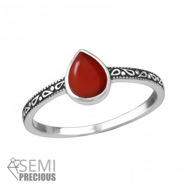"Tear Drop ""Red Onyx"" - 925 Sterling Silver Rings With Semi-Precious stone A4S36190"