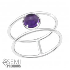Double Line - 925 Sterling Silver Rings with Zirconia stones A4S36193