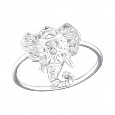 Elephant - 925 Sterling Silver Rings with Zirconia stones A4S36413