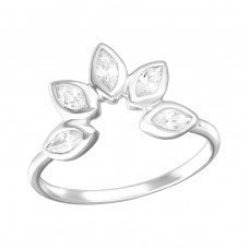 Flower - 925 Sterling Silver Rings with Zirconia stones A4S36414