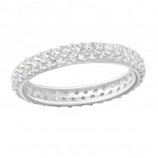 Pave Diamond - 925 Sterling Silver Rings with Zirconia stones A4S36512