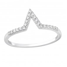 V Shaped - 925 Sterling Silver Rings with Zirconia stones A4S36514