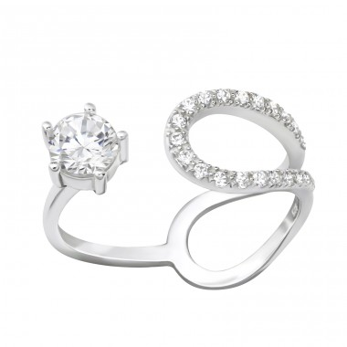 Open - 925 Sterling Silver Rings with Zirconia stones A4S36532