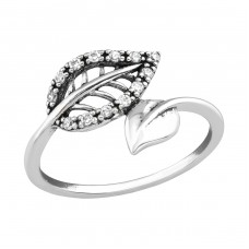 Leaf - 925 Sterling Silver Rings with Zirconia stones A4S36763