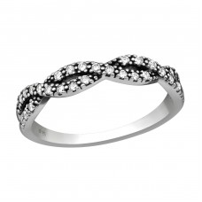 Intertwining - 925 Sterling Silver Rings with Zirconia stones A4S36866