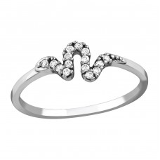 Snake - 925 Sterling Silver Rings with Zirconia stones A4S36867