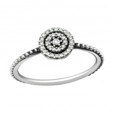 Round - 925 Sterling Silver Rings with Zirconia stones A4S36868