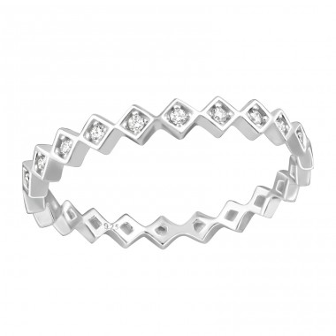 Geometric - 925 Sterling Silver Rings with Zirconia stones A4S36869