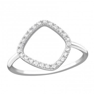 Geometric - 925 Sterling Silver Rings with Zirconia stones A4S36871