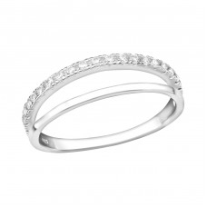 Double Line - 925 Sterling Silver Rings with Zirconia stones A4S36872